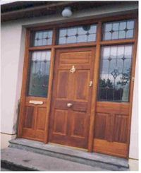 Teak double doors with two side lights and fan light & Bourkes Joinery Mitchel Street Thurles Co. Tipperary